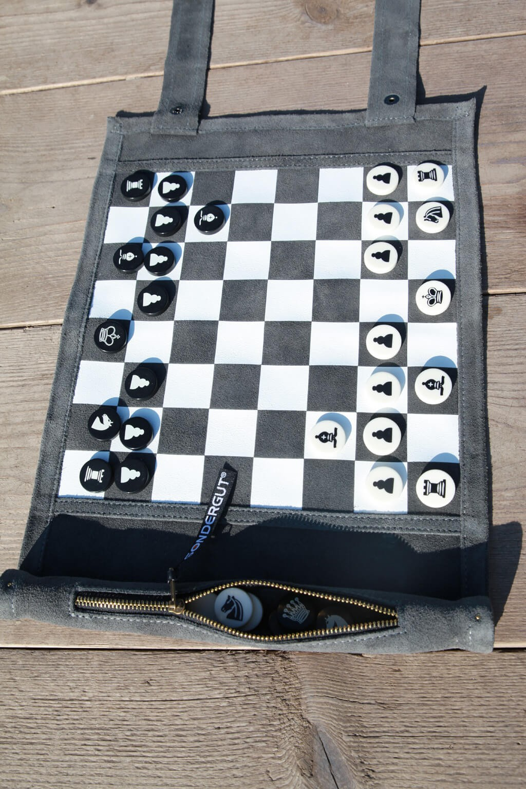 Sondergut Chess Checkers Roll Up Travel Set House Of