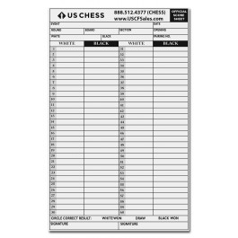 Official US chess Self-Duplicating Score Sheets - PACK OF