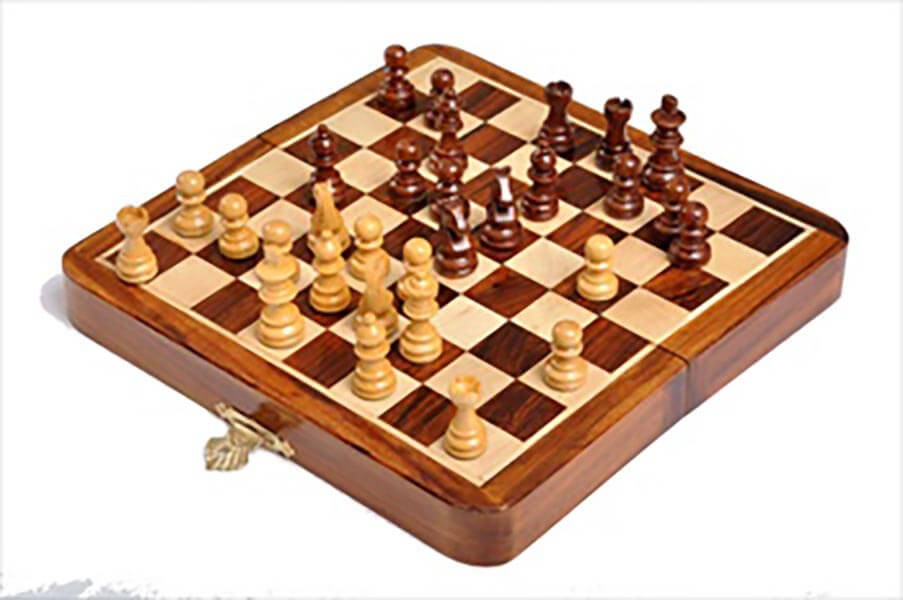 """WOODEN CHESS Magnetic Set 7/"""" Inch Folding Handmade Indian Antique Style Hardwood"""