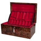 Signature Premium Fitted Coffer Chess Box - Olmo Burl & Maple