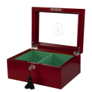 Superior Chess Box - Red Burl - Glass Top