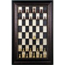 Straight Up Chess Board - Black Maple Board with Checkered Bronze Frame