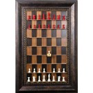 "Straight Up Chess Board - Dark Walnut Series with wide 4 1/4"" Antique Bronze Frame with Gold Trim"