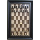 Straight Up Chess Board - Maple Nut Chess Board with Dark Bronze Frame with Gold Trim