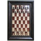 Straight Up Chess Board - Red Maple Chess Board with Wide Antique Bronze Frame