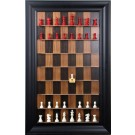 """Straight Up Chess Board - Dark Walnut Series with 3"""" Black Contemporary Frame"""