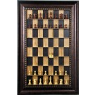 Straight Up Chess Board - Black Cherry Series with Checkered Bronze Frame