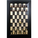 Straight Up Chess Board - Black Maple Board with the Flat Black Frame