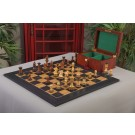 The Burnt Golden Rosewood Grandmaster Series Chess Set, Box, & Satin Olivewood Board Combination