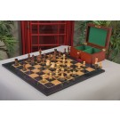 The Burnt Golden Rosewood Reykjavik II Series Chess Set, Box, & Gloss Olivewood Board Combination