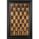 "Straight Up Chess Board - Cherry Bean Chess Board with 3 1/2"" Dark Bronze Frame with Gold Trim"