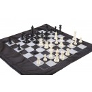 Regulation Tournament Chess Pieces and Cinch Chess Board Bag Combo - SINGLE WEIGHTED