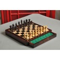 """WOODEN MAGNETIC Travel Chess Set - 10"""" Square - Indian Rosewood and Maple"""