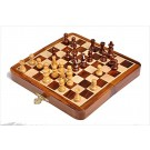 FOLDING WOODEN MAGNETIC Travel Chess Set - 7""
