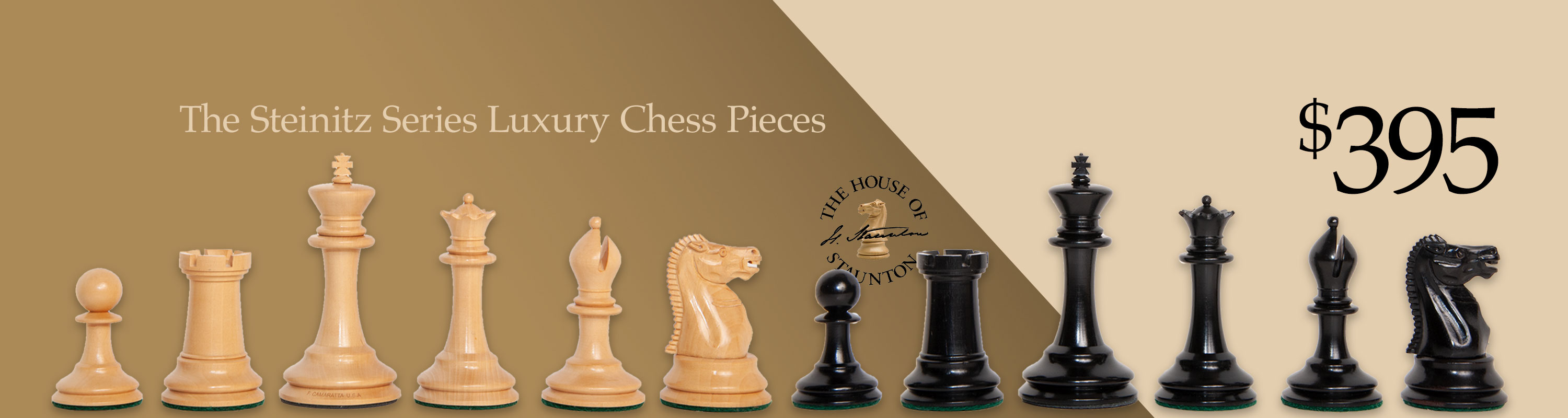 The Steinitz Series Luxury Chess Pieces - $395
